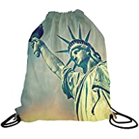 fan products of InterestPrint Statue of Liberty New York City Landmark School Travel Daypack Gym Bag, Polyester Basketball Drawstring Bags Backpack Waterproof - 16.5