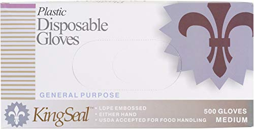 KingSeal Embossed Poly Disposable Gloves, Powder-Free, Size Large - 4 boxes of 500 per Case