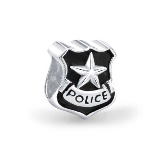 Bling Jewelry Patriotic 925 Silver Police Badge Cop Shield Bead Charm