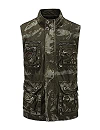 Jueshanzj Men Vest Military Camouflage Climbing Suit Cotton with Multi-Pockets