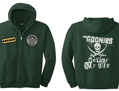 Die Zip Hoodie - Ripple Junction Goonies Never Say Die Member Adult Zip Hoodie XL Dark Green