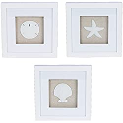 "Set of 3 Sandstone Shell and Starfsh Shadow Box Plaques - 7.875"" Square"