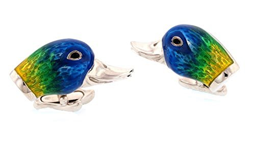 - Sterling Silver and Enamel Duck Head Cufflinks. Made in Italy