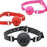 Fetish Extreme Full Silicone Breathable Ball Gag,Bondage Open Mouth Gags,Adult Sex Toys for Couple Adult Game Size S M L L Black Gag