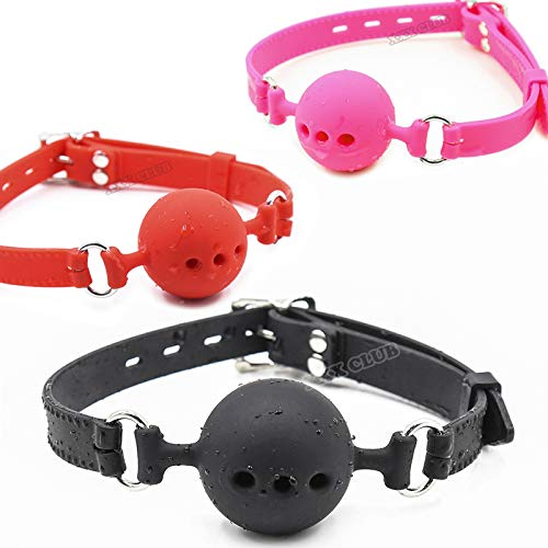 Fetish Extreme Full Silicone Breathable Ball Gag,Bondage Open Mouth Gags,Adult Sex Toys for Couple Adult Game Size S M L L Black Gag by CouplesYING