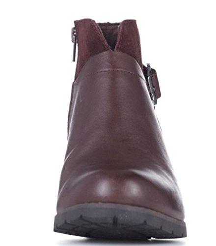 Clarks pausa Cheer de piel y ante Ankle Boot Wide Fit marrón