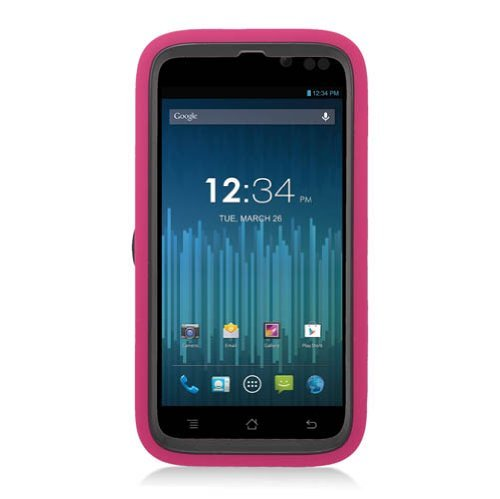 EagleCell Hybrid Armor Skin Protective Case Cover with Stand for BLU Advance 4.5 A310 - Retail Packaging - Black/Hot (A310 Faceplates)