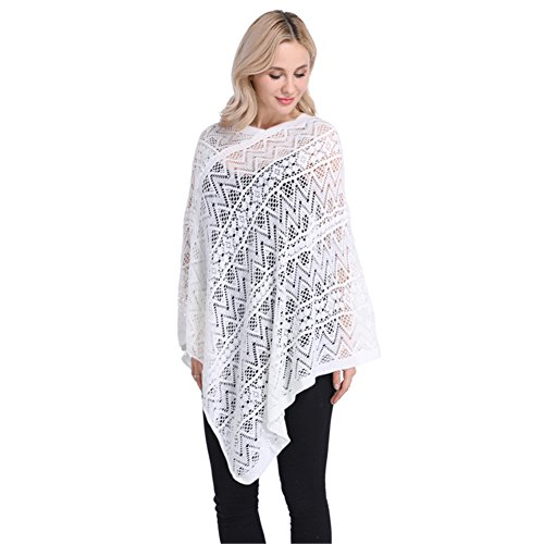 SherryDC Women's Lace Crochet Knit Batwing Pullover Sweater Poncho Cape Shawl Wrap