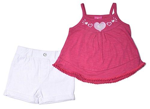 Baby-Girls-2-Piece-Short-Sets-Sleeveless-Tank-Stretch-Button-Shorts-2T-6X