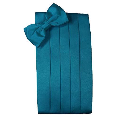 - Men's Solid Satin Cummerbund & Bow Tie Set - Many Colors (Oasis)
