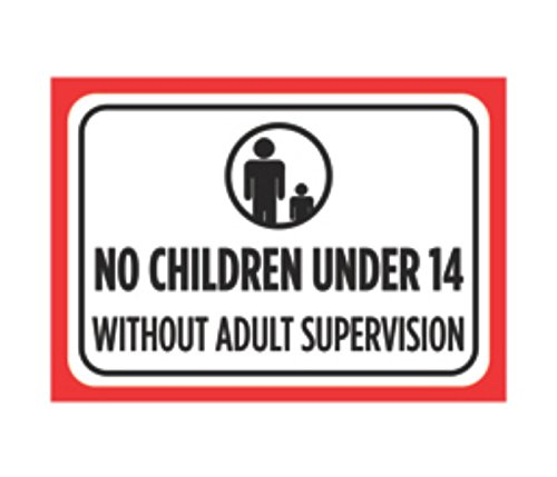 No Children Under 14 Without Adult Supervision Print Black Red White Poster Picture Symbol Attention Pool Swimming (No Children Allowed Sign)