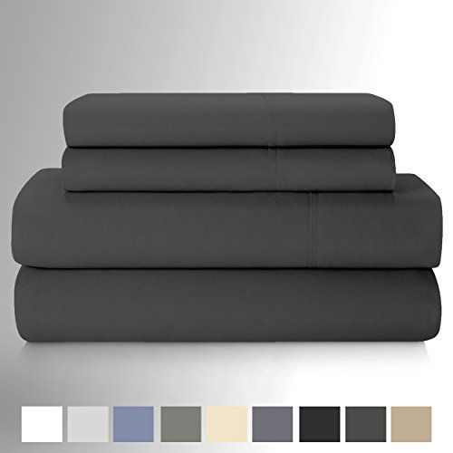 Curl Up 300 Thread Count 100% Cotton 4 Piece Cotton Blend Sheets Set, Long - Staple Combed Pure Natural Cotton Sheet, Soft by (Queen, Charcoal Grey)