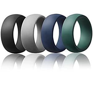 Silicone Weddi.ng Ring For Men By AVEN - 4 Pack - Designed for Safety, Comfort, Athletic Lifestyle - Black, Gray, Navy Blue, Forest Green(10.5)