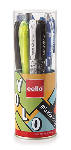 Cello Yolo Stationery Combo Pack (12 Stationery Items)|Includes Ball pens, Gel pens,Whiteboard Markers, Permanent marker, Highlighters & Mechanical Pencil| Perfect pack for school and college students