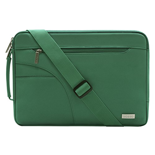 MOSISO Laptop Shoulder Bag Compatible 13-13.3 Inch MacBook Pro, MacBook Air, Notebook Computer, Ultraportable Protective Polyester Carrying Handbag Briefcase Sleeve Case Cover, Peacock Green ()