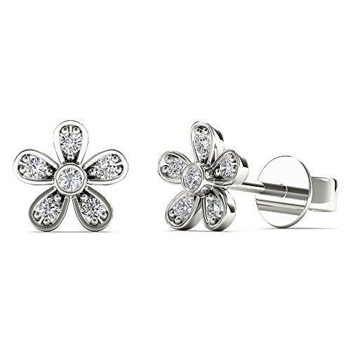 Flower Pave - JewelAngel Women's 10K White Gold Diamond Accent Cute Flower Heart Stud Earrings (H-I, I1-I2)