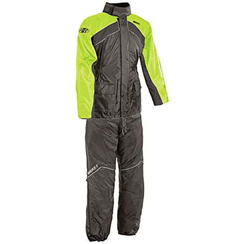 Joe Rocket RS-2 Two-Piece Men's Street Motorcycle Rainsuit - Black/Hi-Viz/Medium