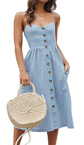 ECHOINE Womens Summer Button Down Casual Swing Plain Solid Midi Dress Pockets Blue