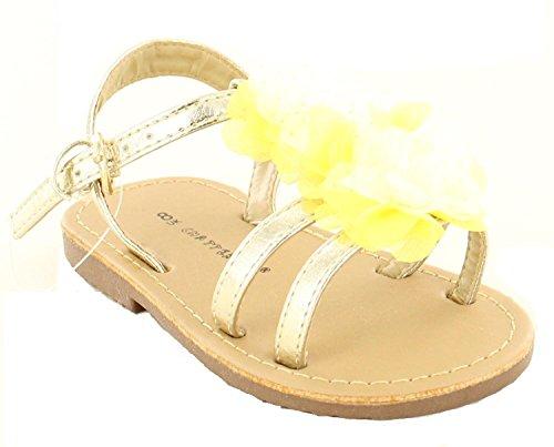 Koo-T Las niñas sandalias flor hebilla gladiador verano playa fiesta infantil tamaño dorado y amarillo