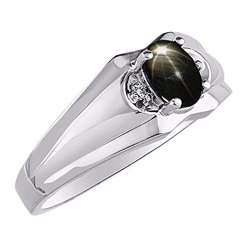 Black Star Sapphire & Diamond Ring set in 14K Yellow or 14K White Gold