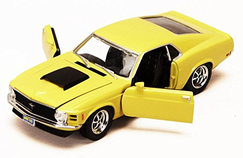 1970 Ford Mustang Boss 429, Yellow - Motormax 73303 - 1/24 scale Diecast Model Toy Car -  Motor Max, 73303y