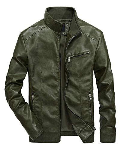 Outdoor Jacket Lunga Classiche Uomo Capispalla Da Long Cappotto Manica Finta In Leather Leisure Dunkelgrün2 Pelle Ragazzi Pu Biker Giacca z0qxS