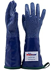 "Tucker Safety 92144 Products Tucker SteamGlove Utility Glove, Nitrile, Cotton Lined, 14"", Large, Blue"