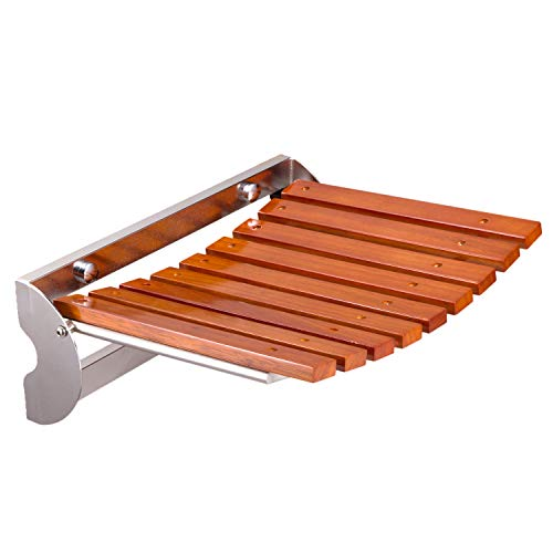 SYLPHID Folding Wood Shower Seat Bench Wall Mounted Foldable Bathroom Safely Stool Chair