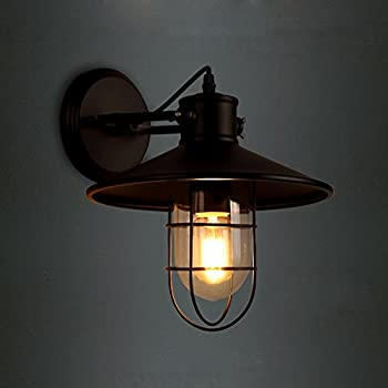JINGUO Lighting Industrial Vintage Style 1 Light Wall Sconces Ceiling Lamp  Antique Metal Copper Nautical Wall