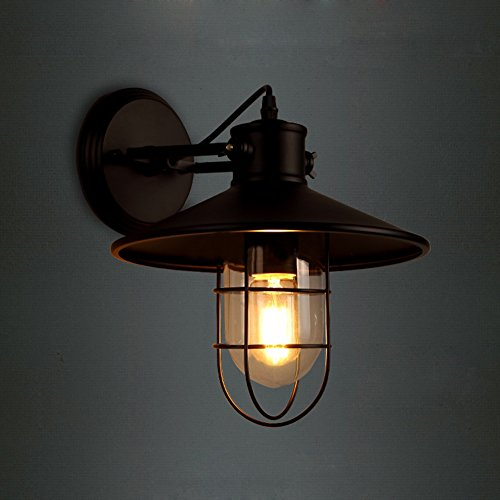 JINGUO Lighting Industrial Vintage Style 1 Light Wall Sconces Ceiling Lamp Antique Metal Copper Nautical Wall Sconce Wall Light Lamp Fixture with Cage Use E26/27 Bulb - Copper Wall Lamp