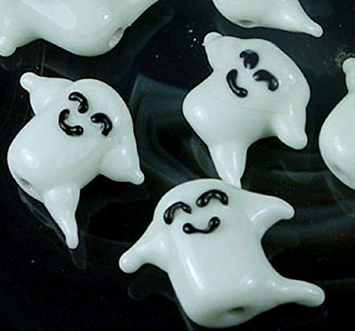 Lampwork Handmade Glass Happy Ghost Halloween Beads (5) ~ Al Aguz