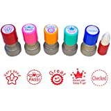 WAF Pack of 5 Sorted Teacher Stamps Teacher Self-Inking Rubber Stamps Teacher Review Photosensitive Stamps for Education with 1 Bottle Ink