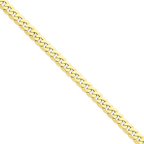 14k Yellow Gold 6.75mm Beveled Curb Chain 8'' Bracelet by Jewelplus
