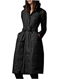 Allonly Women's Long Slim Bowknot Thicken Down Jacket Dress Coat