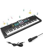 Achort Kinderen Piano Toetsenbord, 61 toetsen Multifunctioneel Elektronisch Piano Toetsenbord met Microfoon, Draagbare Oplaadbare Elektronische Muziek Toetsenbord voor Kinderen Cadeau
