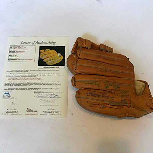 Vintage Joe Dimaggio Ernie Banks Billy Martin Signed Baseball Glove With COA - JSA Certified - Autographed MLB Gloves ()