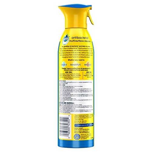 Pledge Multi-Surface Antibacterial Cleaner and Polish Spray, Works on Wood, Granite, Glass, Leather, and More, Fresh Citrus, 9.7 oz