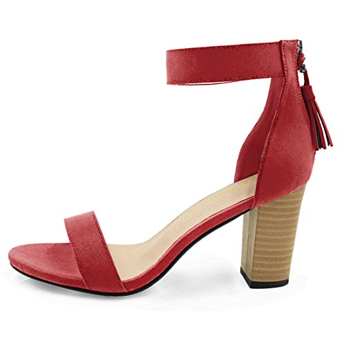 Sandal K Ankle Tassel Red Heeled Strap Allegra Women's SwFqfC