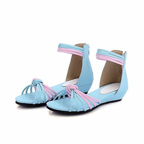 VogueZone009 Mujeres Mini Tacón Dos tonos Cremallera Puntera Abierta Sandalia de Cuña Azul