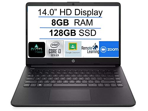 2021 Newest HP 14″ HD Laptop for Business and Student, Intel Core i3-1005G1(Beat i5-7200U), 8GB DDR4 RAM, 128GB SSD, Bluetooth, Webcam, HDMI, WiFi, USB Type-C, Windows 10 S, Black + AllyFlex Mousepad