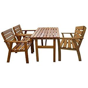 AVANTI TRENDSTORE - Busseto - Set di mobili per l'esterno in legno, molto robusto e resistente, ideale per pranzare nel… 3 spesavip
