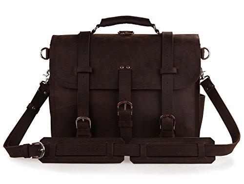 Polare Thick Full Grain Leather Shoulder Briefcase Satchel Messenger Bag For Men(Dark Brown) by Polare (Image #1)