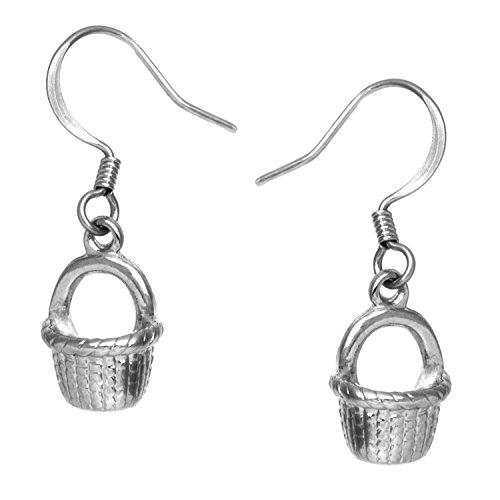 Nantucket Basket Drop Earrings Silvertone by Cape Cod Jewelry-CCJ - Nantucket Bay Collection