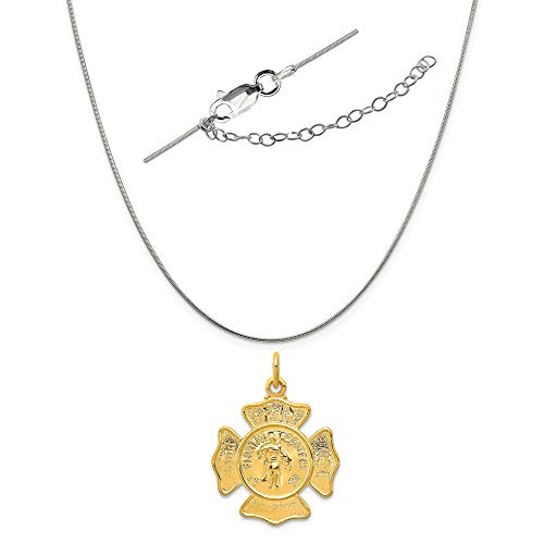 - Sterling Silver Two-Tone Saint Florian Fireman's Badge Medal Charm on a Snake Chain, 18