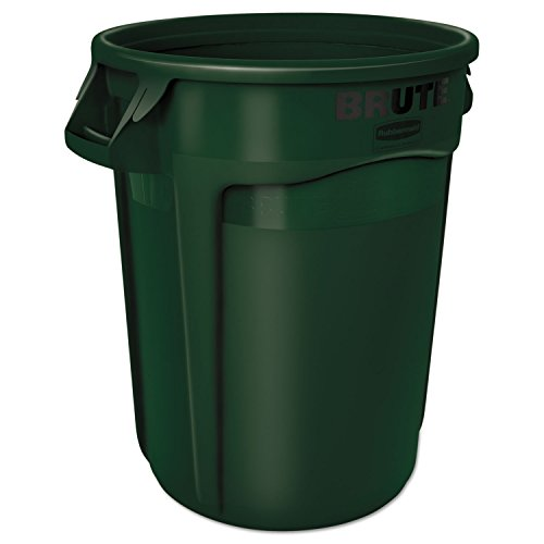 Rubbermaid Commercial 2632DGR Round Brute Container, Plastic, 32 gal, Dark Green