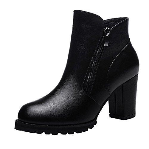 T&Mates Women's Fashion Side-Zipper Chunky Heel Waterproof Platform Ankle Booties