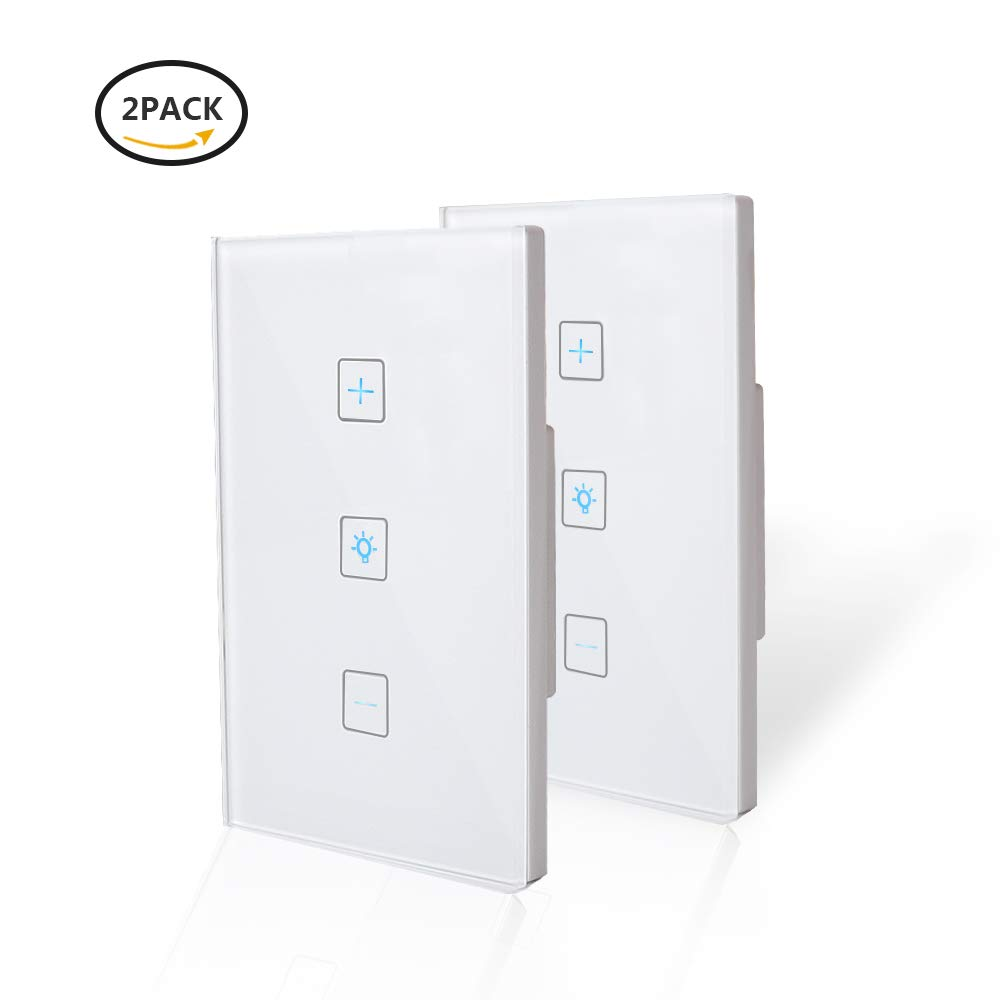 Wifi Light Switches-Smart Dimmer Switch Panel Work with Alexa Google Home  IFTTT-Timer Function and Phone Remote Control Wall Light Any Where-No Hub