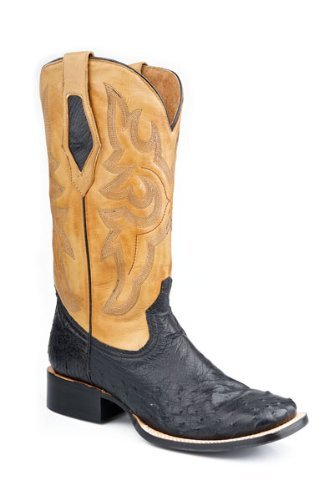 Roper Mens Exotic Black Square Toe Full Quill Ostrich Skin Cowboy Boots 13 D