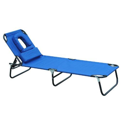 🥇 Outsunny Tumbona Reclinable y Plegable Hamaca Masaje con Almohada para Camping Leer Playa Jardín Terraza Carga 120kg 190x56x28cm Tela Oxford Azul