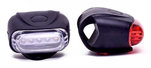 Retrospec Bicycles Bondi-5 Super Bright 5 LED Urban Commuter Silicon Bike Headlight and Taillight Combo, Black